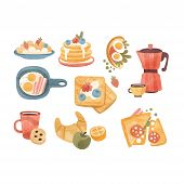 Classic Breakfast Dishes Set, Brunch Or Breakfast Time Vector Illustrations On A White Background poster
