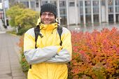 Tourist On Urban Background. Man Tourist Wear Warm Protective Clothes For Cold Climate Conditions. T poster