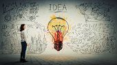 Side View Of A Pensive Young Woman Looking At The Wall With Colorful Light Bulb And Business Sketch. poster