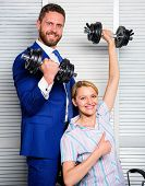 Strong Powerful Business Strategy. Boss Businessman Manager Raise Hand With Dumbbells. Strong Busine poster