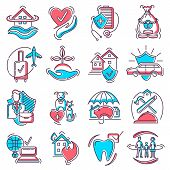Insurance Icon Vector Life Or Health Ensurance Logo And Insurant Family Or House Protection Illustra poster