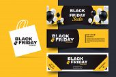 Black Friday Horizontal Promotion Web Banner Set. Sale Banners Design Template. Yellow And Black Geo poster