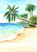 Seascape. Summer Tropical Beach With Golden Sand And Palmes. Hand Drawn Watercolor Illustration poster
