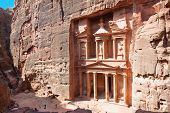 Treasury in ancient city of  Petra in Jordan. It was carved out of a single rocks. It is now an UNES