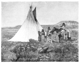 stock photo of tipi  - Native americans from Utah region - JPG
