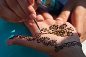 image of henna tattoo  - Henna tattoo painted on young woman - JPG