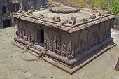 image of ellora  - Hindu temple carved out of solid rock. Cave number 15 (Dashavatar) Ellora Caves near Aurangabad India. 8th - 9th Century AD