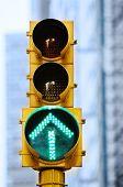pic of traffic light  - Green Arrow traffic light in new york city - JPG
