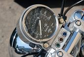 image of speedo  - A Speedometer from a motorcycle close up - JPG