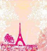 Постер, плакат: Винтажные ретро Eiffel карта