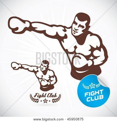 Постер, плакат: Боксер модели иллюстрация, холст на подрамнике