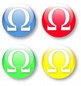 picture of ohm  - Ohm omega vector glassy blue red yellow and green buttons isolated over white background - JPG