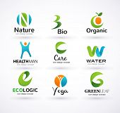 Vector green ecology alphabet - icons and symbols