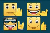 picture of facial piercings  - Set of Square emoticons  - JPG