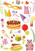 stock photo of birthday-cake  - vector illustration set of a differenr objects for birthday moments - JPG