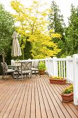 Outdoor Natural Cedar Deck With Patio Furniture