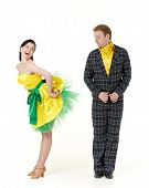 picture of jive  - Dancing young couple on a white background - JPG