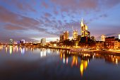 Panorama of Frankfurt am Mine at night, Germany