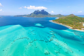 picture of french polynesia  - view from helicopter at mount otemanu at bora bora island french polynesia - JPG