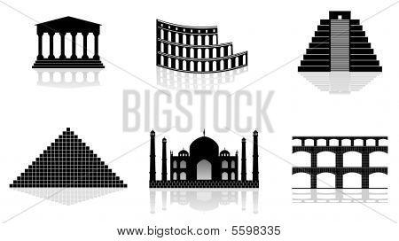 Постер, плакат: исторические памятники векторные иллюстрации, холст на подрамнике