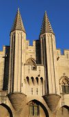 Turrets of the Papal Palace in  Avignon, France.