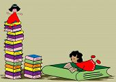 picture of storytime  - Cute girl reading book  - JPG