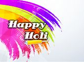 Indian color festival Holi celebration concept with stylish text Happy Holi on colours splash backgr