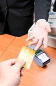 Businessman Give Credit Card For Pay Something