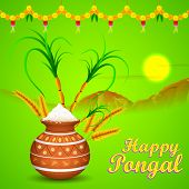 stock photo of kalash  - illustration of Happy Pongal greeting background - JPG