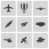 stock photo of aeroplane symbol  - Vector black airplane icons set on white background - JPG