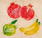 foto of pomegranate  - Fruit set drawn watercolor blots and stains with a spray banana - JPG