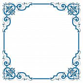 foto of scrollwork  - Vintage scrollwork border frame has an old fashioned sign flavor in black and white pen and ink style - JPG