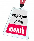 foto of employee month  - Employee of the Month words on a name tag or badge recognize top performing worker - JPG