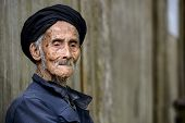 picture of centenarian  - An elderly member of the Yao minority people in Tiantou Village - JPG