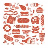stock photo of shawarma  - Set of flat vector meat and sausage icons - JPG