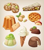stock photo of gelato  - Set of traditional italian desserts sweets and cookies - JPG