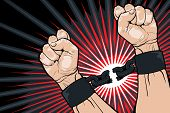 picture of clenched fist  - Conceptual image of breaking the bonds in a bid for for freedom and liberty with a strong man clenching his hands to snap the handcuffs around his wrists vector illustration - JPG