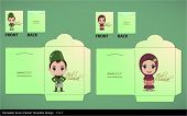 picture of hari  - Vector Muslim Couple Greeting Hari Raya Money Green Packet Design - JPG