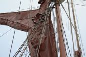Detail of mast and rigging of square rigger. poster