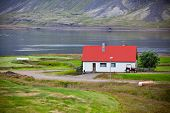 picture of iceland farm  - Typical Farm House at Icelandic Fjord Coast - JPG