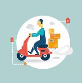 image of designated driver  - delivery scooter icon - JPG