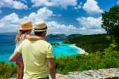 picture of caribbean  - Family of father and daughter enjoying aerial view of picturesque Trunk bay on St John island - JPG
