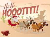 foto of desert christmas  - funny cartoon santa claus in desert - JPG