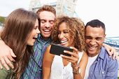 pic of bridge  - Group Of Friends Taking Selfie By Tower Bridge In London - JPG