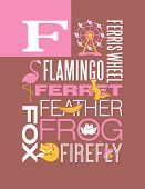stock photo of baby frog  - Letter F words typography illustration alphabet poster design - JPG
