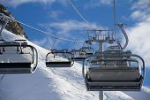 foto of ropeway  - Chairlift in a ski resort Krasnaya Polyana - JPG