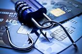 image of hook  - security lock with password and fish hooks on credit cards - JPG