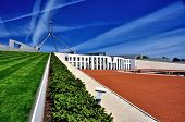 picture of prime-minister  - Parliament House Canberra Australia Side View with flags on display - JPG