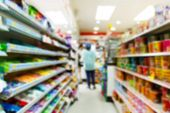 stock photo of cashiers  - Blurry convenience store shot by moving camera with slow shutter speed - JPG
