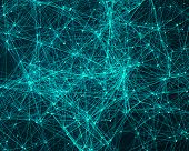 image of cybernetics  - Abstract digital background with turquoise cybernetic particles - JPG
